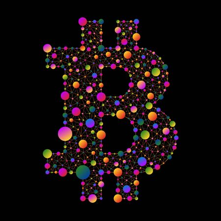 metal net: Bitcoin. Example of colored circles connected by lines on a black background Illustration