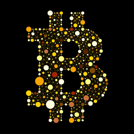 Crypto currency. Gold bitcoin. The vector version of the logo on a black background