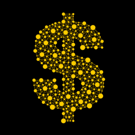 Monetary currency. Vector dollar with a Golden glow on a black background