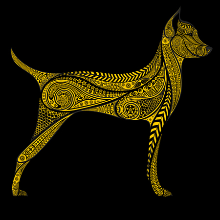 The symbol of the Chinese new year 2018. Yellow dog vector patterns on a black background Illustration