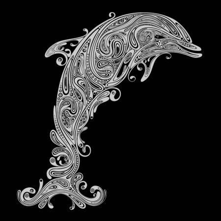 Abstract vectorsilhouet van een Dolfijn van de mooie patronen op een zwarte achtergrond