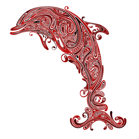 Stop the killing of animals. Abstract vector silhouette of a Dolphin from red patterns Illustration
