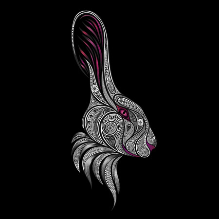 lewis: White rabbit with pink eyes illustration.