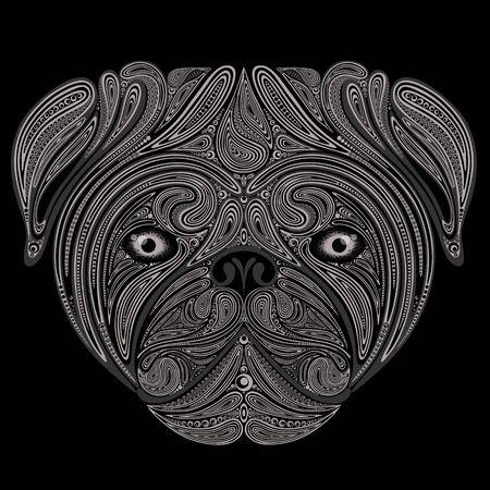 Silueta de vector abstracto de la cabeza de un perro hecha de flores sobre fondo negro