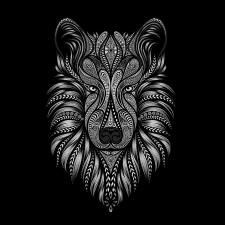dog: Vector wolf. Silhouette of a dog from patterns on a black background Illustration