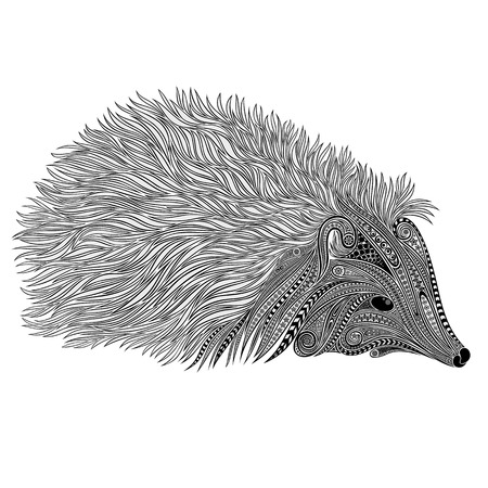 doodling: Silhouette of a vector hedgehog of beautiful patterns