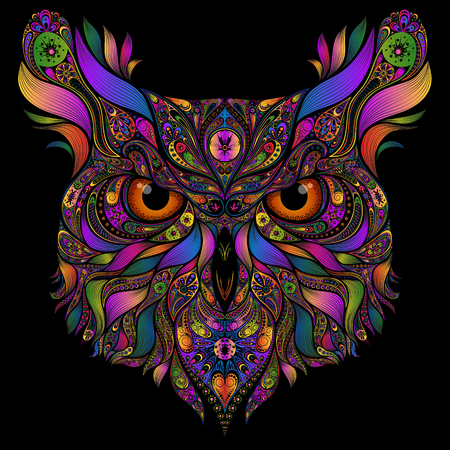 Vector head of an owl of colored abstract patterns on a black background