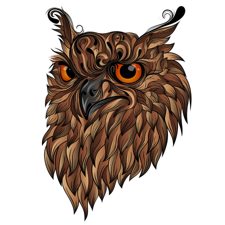 Brown vector owl with gradients