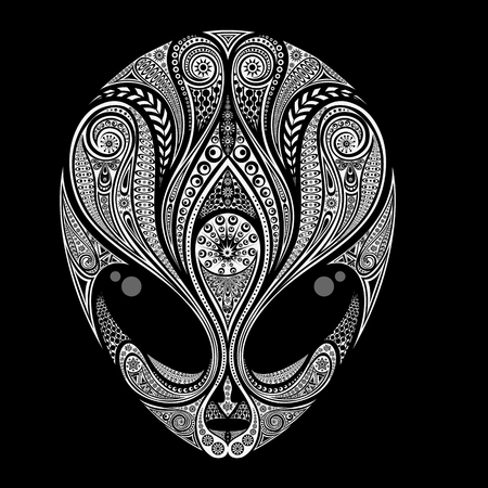 Abstract vector silhouette of an alien pattern on a black background