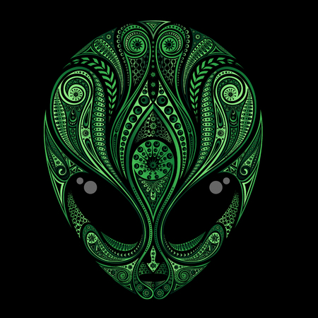 Vector silhouette of the head of a green alien from patterns