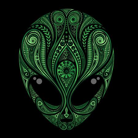 Vectorsilhouet van het hoofd van een groene vreemdeling van patronen