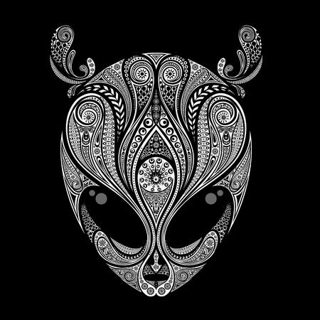 Het hoofd van een alien met antennes van patronen op een zwarte achtergrond Stock Illustratie