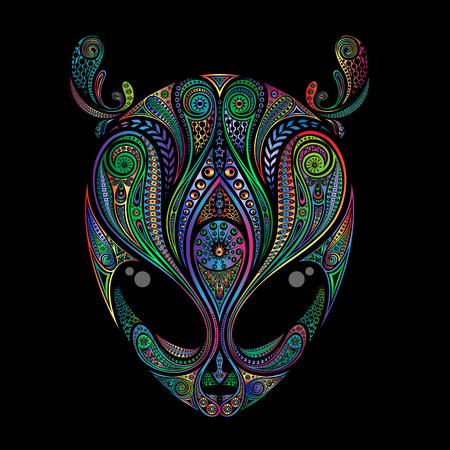 Vintage hoofd van gekleurde buitenaardse patroon op een zwarte achtergrond Stock Illustratie