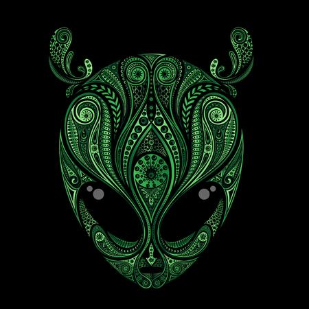Groene vectortekening van het hoofd van een vreemdeling met antennes van patronen Stock Illustratie