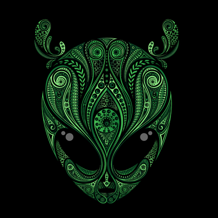 Green vector drawing of an aliens head with antennas from patterns Illustration