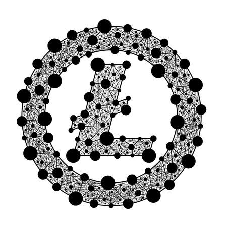 Lite-munt. Crypto-valuta. Vector symbool van het web. Stock Illustratie