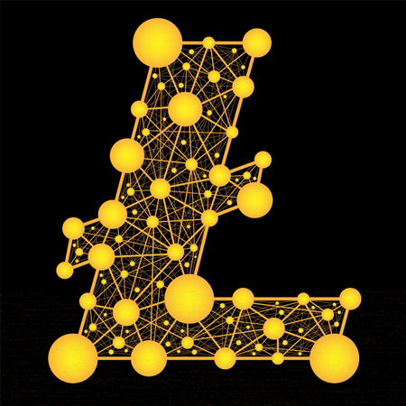 lite: Crypto currency. Vector golden logo lite coin on a black background Illustration