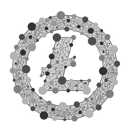 Logo lite munt. Crypto-valuta. Grijs vectorsymbool van het Web