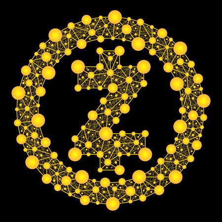 Zcash. Crypto-valuta. Gouden vector van het logo van het web op een zwarte achtergrond