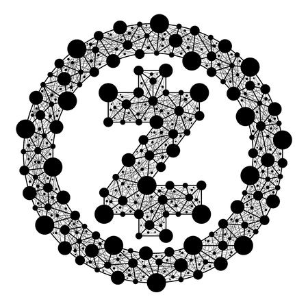 Zcash. Symbool van crypto-valuta van het web Stock Illustratie