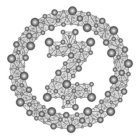 Zcash, symbool van crypto op witte achtergrond, vectorillustratie.