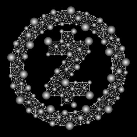 Zcash. Crypto-valutalogo van een web op een zwarte achtergrond