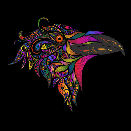 Vector colored bird from patterns Illustration