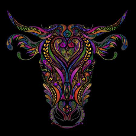 Mooie kleuren vector koe uit verschillende patronen