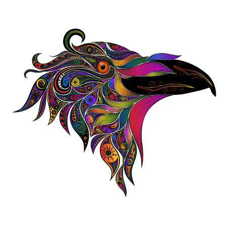 Colored vector bird from patterns