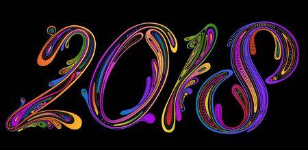 Nieuwjaar en Kerstmis 2018. Feestelijke vectorfiguren van prachtige patronen