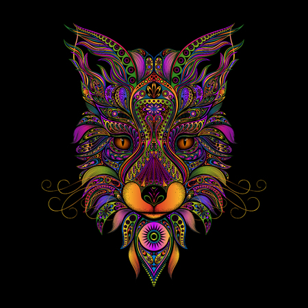 Color vector fox from patterns on a black background. Stock Illustratie