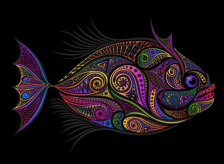 Gekleurde vectorvis uit verschillende patronen