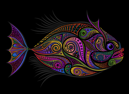 Colored vector fish from various patterns