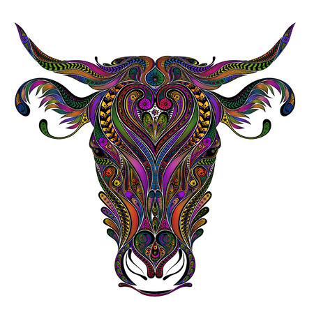 Vector colored cow from patterns