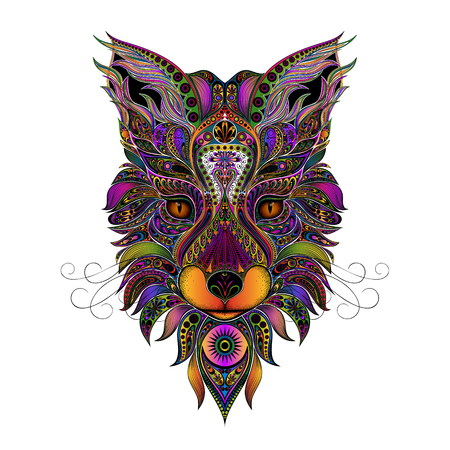 Color vector fox from beautiful patterns