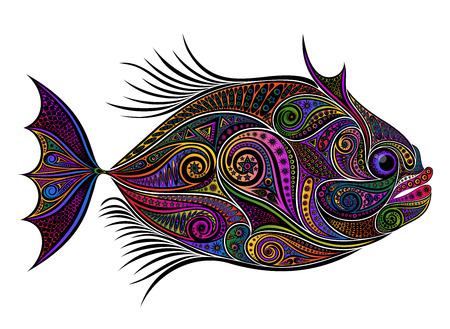 Vector colored fish from patterns on a light background Illusztráció