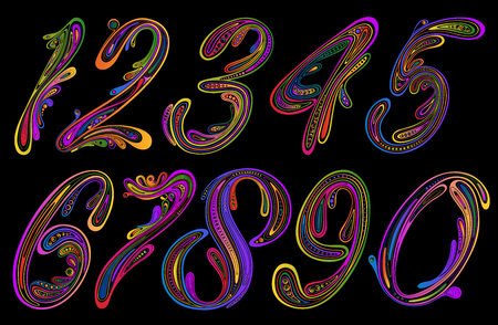 Set of colored numbers from patterns on a dark background