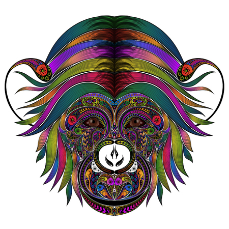 Vector colored monkey from patterns
