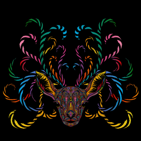 Magic vector color reindeer with branching horns