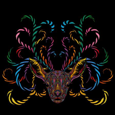 Magisch vectorkleurenrendier met vertakkende hoornen