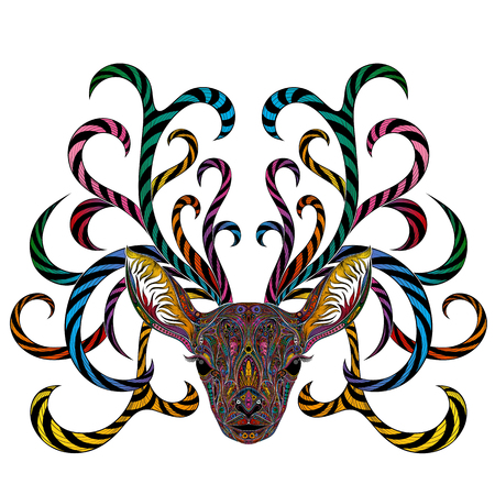 Vector colored deer with branching horns.