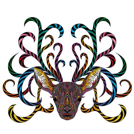 Vector gekleurde herten met vertakkende hoorns.