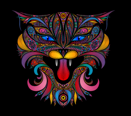 Beautiful vector colored cat on a black background