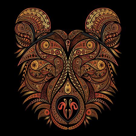 Beautiful vector bear of patterns isolated on black background Stock Illustratie