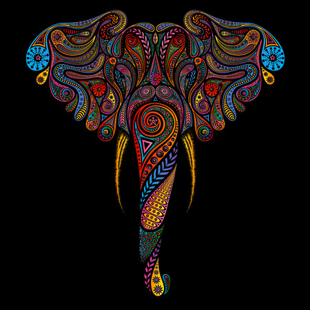 Vector colored elephant of vintage patterns 일러스트