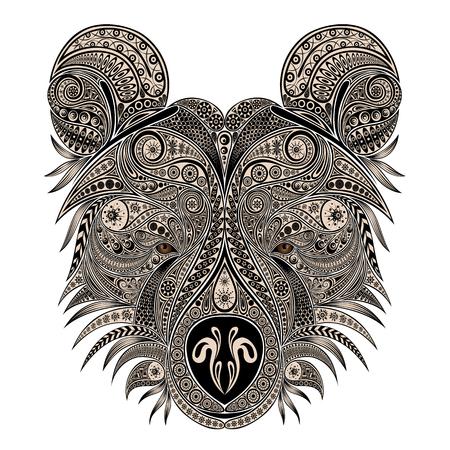 Vector bear of vintage patterns