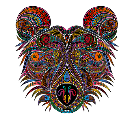 The head of a bear. Vector animal from color vintage patterns