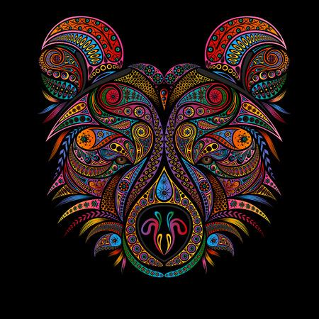 Vector animal. Color bear of various vintage patterns Stock Illustratie