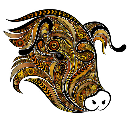 Yellow pig of patterns. Symbol of the Chinese New Year. Stock Illustratie