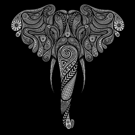 Indian elephant vector vintage animal from patterns